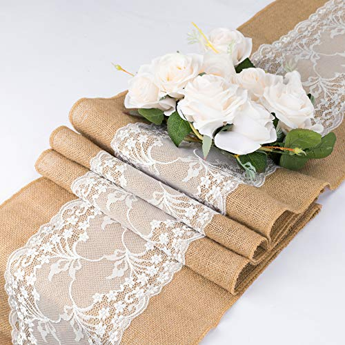 Burlap Lace Hessian Table Runner 108 inches Long, 12