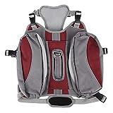 Pssopp Dog Backpack Harness Portable Walking Campeggio Escursionismo Zaino Sacchetto per Animali da Compagnia Amovibile Borse da Viaggio Gilet Catarifrangente per Cani di Taglia Media e Grande(Rosso)