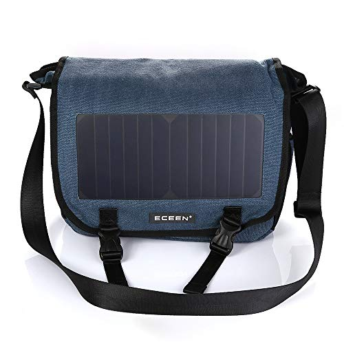 EIEI Solar daykpack, Outdoor Leisure Canvas Rucksack, USB Charging Crossbody Bag Shoulder Bag,Blue
