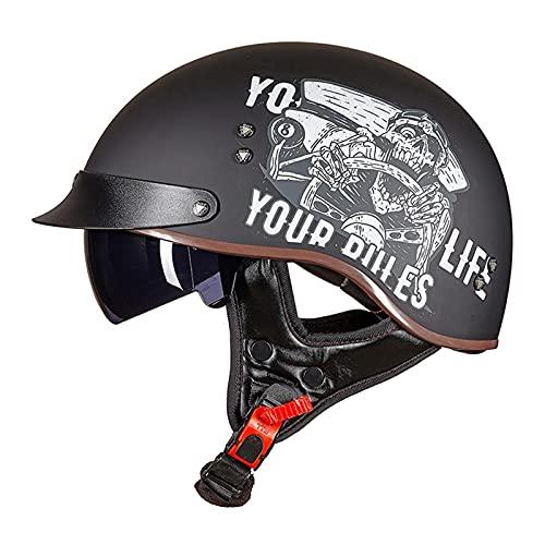 DLXYch Cascos de motocicleta, Hombre Y Mujer Personalidad Harley Half Helmets, Scooter Four Seasons Scooter Cascos, Transporte Ligero Medio Cascos 2XL G