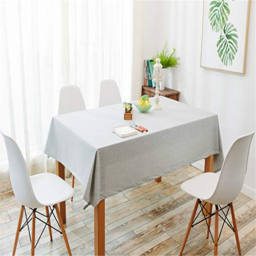 DJUX Restaurante de café algodón y Lino Mantel Impermeable Mesa de Centro Color sólido Liso Mantel Rectangular Mantel Anti-escaldado 130x180cm