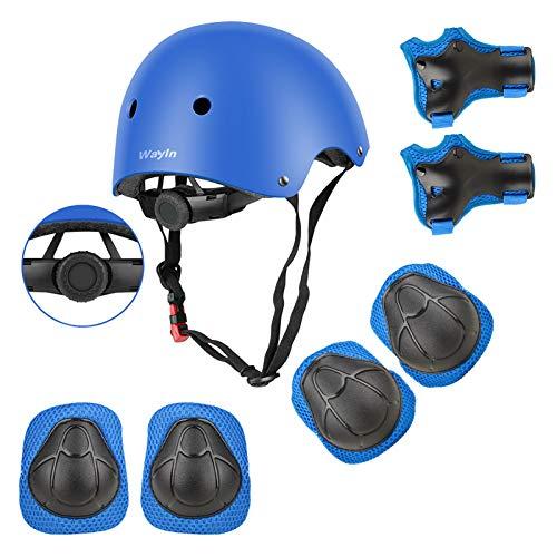 Wayin Casco Bici Protezioni Set per Bambini Regolabile Gomitiere Polso Ginocchiere per Skateboard Pattini in Linea Bicicletta Protezione Bambina (Blu Casco)