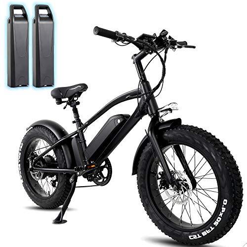 HFRYPShop 20 Zoll Elektrofahrräder mit 750W Motor und 5-Gears, mit 48V 10Ah 2 x Lithium-Batterie, 4.0 Fettreifen Elektrofahrrad Mountainbike