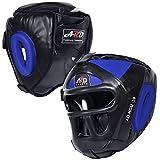 ARD Leather Art MMA Boxing Protector Head Guard UFC Wrestling Helmet Head Gear (Blue, XL)