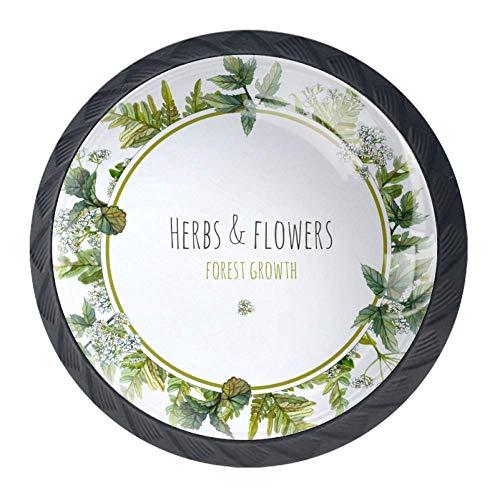 Pomelli in vetro di design per armadi e cassetti, maniglie per mobili da cucina, decorazione per la casa, Fiore verde rotondo, 3.5×2.8CM/1.38×1.10IN