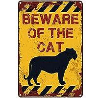 オリジナルのレトロなデザインフラムティンメタルサイン壁アート| 猫に注意してください| 厚いブリキプリントポスターの壁の装飾(猫に注意)