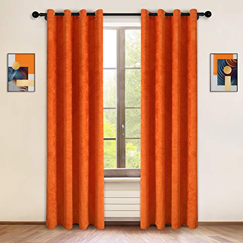 """Double-Sided Orange Chenille Window Curtains for Living Room Modern Window Treatment for Bedroom,2 Panels (Orange, 52"""" W x 96"""" L)"""