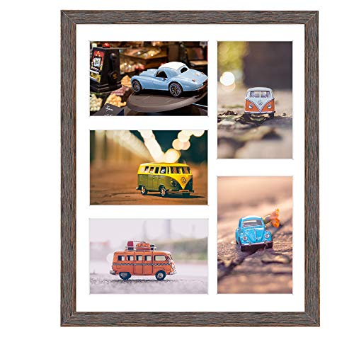 Golden State Art, 11x14 Distressed Brown Wood Frame with White Mat - Displays Five 4x6 Photos - Real Glass, Sawtooth Hangers, Swivel Tabs - Wall Mounting, Landscape, Portrait