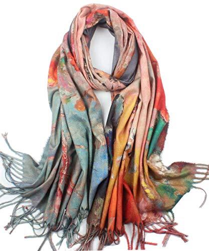 Soft Cashmere Feel Scarf For Women Elegant Large Winter Warm Scarves Shawl Wrap Monet Klimt Van Gogh#039s Art Printed #3