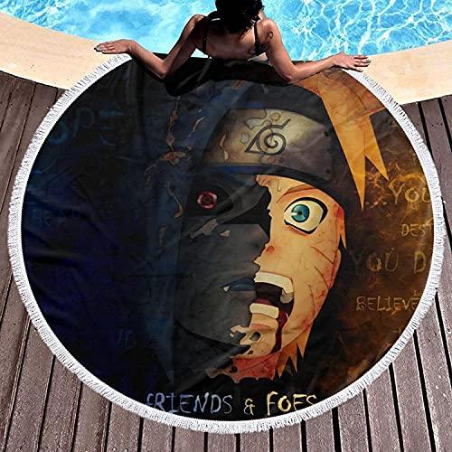 Amacigana Toalla de playa de Naruto 3D, Anime, toalla redonda de microfibra, toalla de playa para exterior, senderismo, natación, accesorio de piscina (Naruto #09,150 cm)
