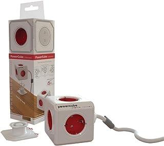 Allocacoc 18549 PowerCube Verlängerungskabel (3m, 5x Verteiler DE) 1307/DEEXPC Weiß,rot