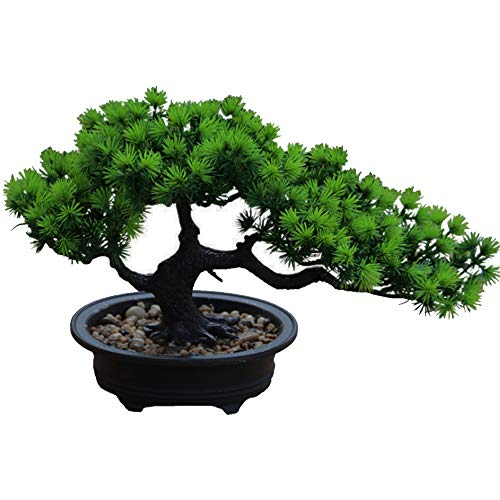 Aisamco Artificial Bonsai Tree Fake Plant Decoration Plantas Artificiales en macetas de la casa Japanese Pine Bonsai Plant 19 cm de Altura 34 cm de Ancho para la decoración del hogar Escritorio
