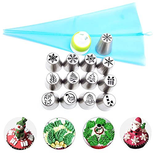 15Pcs Christmas Flower Frosting Tip, Russian Piping Tips, Cake Decorating SuppliesCake Decorating Tips,Baking Supplies Icing Piping Tips for Baking Cupcake Birthday Party
