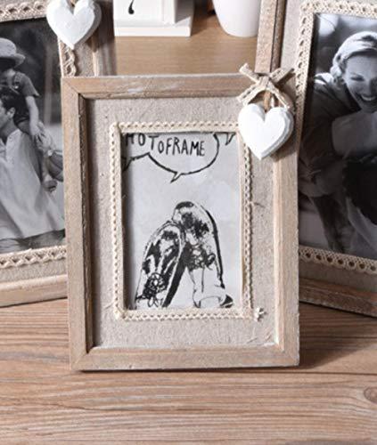 Gerenic Fotolijst, fotolijst, portret, fotolijst, familiefotolijst, fotoalbums, 5 inch, oude houten fotolijst, creatieve ornamenten, fotostudio, van hout, handwerk