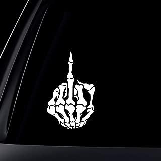 World Design Skull Skeleton Bone Middle Finger Flipping Off Car Decal/Sticker- White