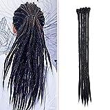 20'(50cm) SEGO 5PCS Dreadlocks Extensiones Rastas de Pelo Sintético para Trenzas Africanas [Negro] Kanekalon Cabello Se Ve Natural Crochet Twist Braiding Hair