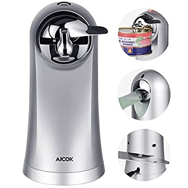 Aicok Can Opener, Electric Can Opener, Knife Sharpener, Bottle Opener 3 in 1, Extra Height for All Standard Can Sizes, Smooth Touch Can Opener, Metal Chrome
