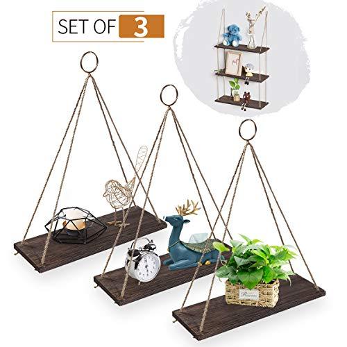 AGSIVO Houten wandrek met touw, hangplank, hangplank, hout, plank voor bloempot, woonaccessoires, decoratief ophangen 3pcs