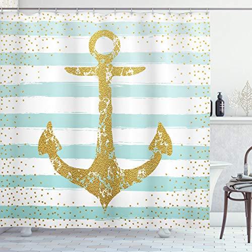 ABAKUHAUS Anker Duschvorhang, Marine Golden Anchor, mit 12 Ringe Set Wasserdicht Stielvoll Modern Farbfest und Schimmel Resistent, 175 x 220 cm, Hellblau weiß
