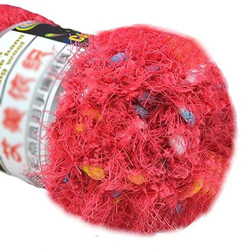 Ensemble de 3 fils tricotés de couleur Hairball Fils tissés tissés à la main, Rose Red