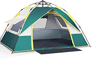 Family camping tent with shelter, 2-3 person automatic pop up tent, double layers waterproof, windproof, with carry bag fo...