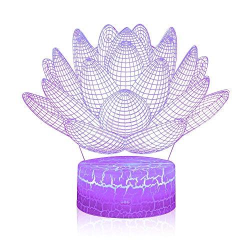 Luz nocturna Interruptor táctil Mesa Escritorio 3D Lámpara de Ilusión Óptica Lotus Lámpara de Mesita de noche con Control Remoto 16 Color Cambio de Navidad Regalo de Cumpleaños para Niño Bebé Niña
