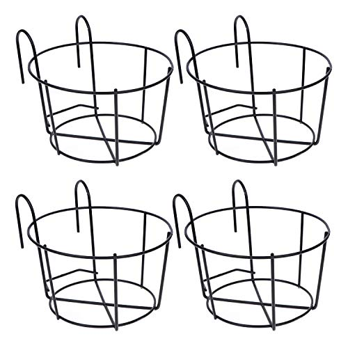 4 Pack Hanging Railing Planters Flower Pot Holders Plant Iron Racks Fence Metal Potted Stand Mounted Balcony Round Plant Baskets Shelf Container Box for Indoor and Outdoor Use-Black,Garden Steel Pots
