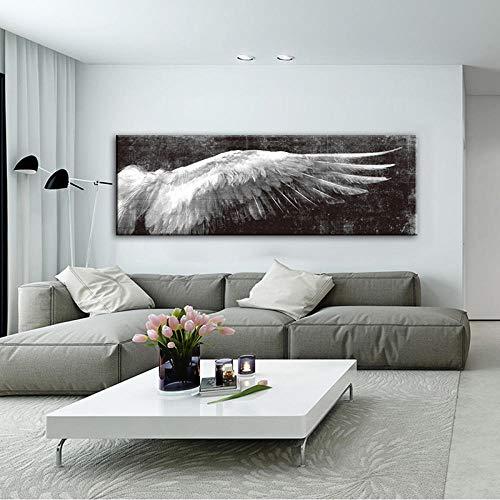 MZYZSL Alas de ángel Carteles e Impresiones Pinturas de Lienzo de Arte Moderno en Blanco y Negro, Cuadros de Pared de Arte Pop de alas para Sala de Estar 50x150 cm Sin Marco
