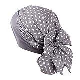 Chemo Cancer Turbans Cap Twisted Hair Cover Wrap Turban Headwear for Women Retro Print Stretch Muslim Hat Head Wrap Gray