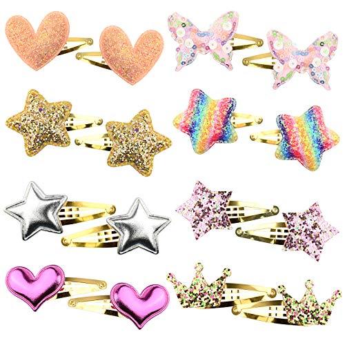 YMHPRIDE Fermagli per capelli per bambine 16 pezzi/8 paia Farfalla /stella /corona/cuore a forma di bambino con bottoni automatici in metallo per bambini Accessori per capelli scintillanti per bambini