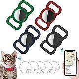 Ambolio Custodia Protettiva in Silicone per Animali Domestici,Airtag GPS Finder Dog Cat Collar Loop,per Il Tracciamento del Cane e del Gatto,4 Pezzi. (Nero + Blu Scuro + Rosso Vino + Verde Scuro)