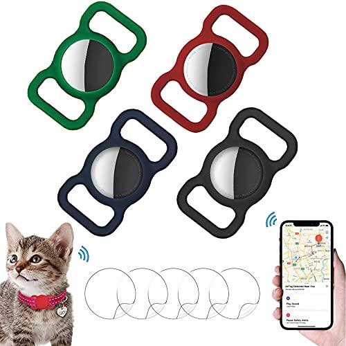 Schutzhülle kompatibel mit Airtag Pet Halsband,Silikon Schutzhülle für Airtags,mit 5 Stück HD Displayschutzfolie,für Hundehalsband Rucksack Tasche,4 Stück.(Schwarz + Dunkelblau + Weinrot + Dunkelgrün)
