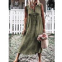 女性の夏のドレス収穫は半袖ソリッドカラーコットンリネンカジュアルオープンVネックロングドレス夏のドレスを削除します,Armee grün,XXXL