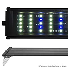 Lumen: 5200 LEDs: 120x 0.50 watt Config: 104x 6500K, 16x Actinic 2 Modes: All on / 16x only Timer Ready