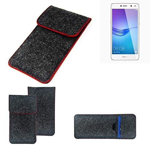 K-S-Trade Handy Schutz Hülle Für Huawei Y6 (2017) Single SIM Schutzhülle Handyhülle Filztasche Pouch Tasche Hülle Sleeve Filzhülle Dunkelgrau Roter Rand