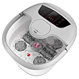 Foot Spa Bath Massager with Heat, Bubble Jets, Motorized Shiatsu Roller Electric Rolling Massage Adjustable Time & Temperature Foot Pressure Relief