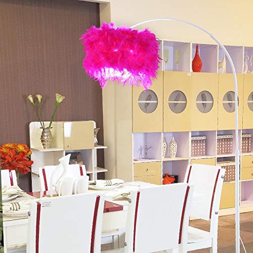 Vloerlamp vissen, nachtlamp vloerlamp in woonkamer slaapkamer, moderne minimalistische creatieve piano mahjong vloerlamp - Witte lampbehuizing + rozerode veer lampenkap + gloeilamp