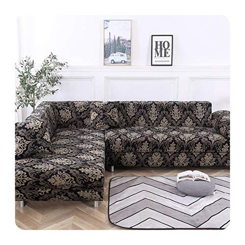 ETWJ Funda de sofá para sala de estar en forma de L, elástica, seccional, de 1/2/3/4 plazas, funda universal para sofá esquinero, 7-1 asiento (90-140 cm)