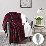 MP2 Heated Plush Sherpa Throw - Electric Blanket for Lap w/ 3 Heating Levels & 2 Hours Auto Shut Off, UL Certified EMF Radiation Safe, Machine Washable - 50'x 60', Red/Black Plaid