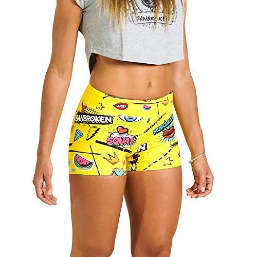 BANBROKEN Short Pantalón Corto Deportivo para Fitness Mujer, Gimnasio, Crossfit, Running, Halterofilia, Yoga, Gym etc (YESUN, M)