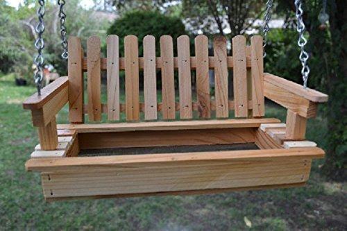 Cedar Porch Swing Bird Feeder Bird Hang out - Free US Shipping