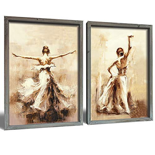 Sexy Hot Lady Canvas Wall Art Paintings – Print Canvas Art 16x24inch - Wood Framed Canvas pictures of Attractive Woman Dancing in Brown Dress Ready to Hang for Home Wall Decor