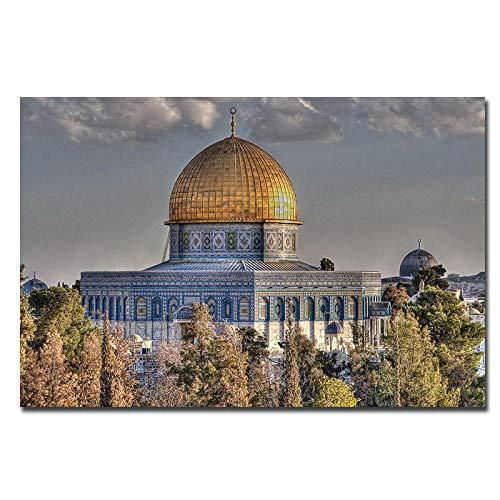 DIOPN islamitische muurkunst schilderkunst, modern oningelijst canvas, modulaire schilderijen op de muur voor wooncultuur, grote muurposter afdrukken Digitaal schilderwerk (zonder lijst, 40 x 50,50 x 60 cm) 50*60CM
