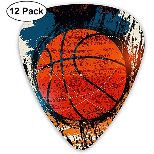 Basketball Retro Aquarell Kunst klassische Celluloid Guitar Pick für elektrische akustische Mandoline Bass (12 Count)