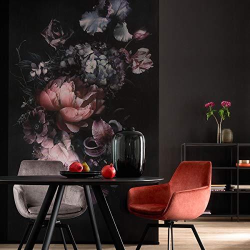 Fototapete Blumen Rosa Schwarz Bunt Landhaus Rosen SCHÖNER WOHNEN-Kollektion Serie Traces - 2,70m x 1,59m - Made in Germany Premium Qualität