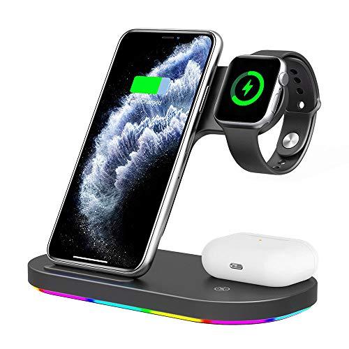 Phiraggit Cargador inalámbrico 3 en 1, Cargador de inducción Qi 15w, Compatible con ipone11 / 11Pro MAX / 11Pro / SE/XS/XS MAX/XR, Apple iWatch 5/4/3/2/1, AirPods Pro1 / 2, Samsung Huawei-Negro