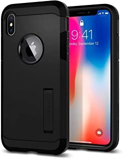 Spigen iPhone X Case, Tough Armor Kickstand Heavy Duty, Black