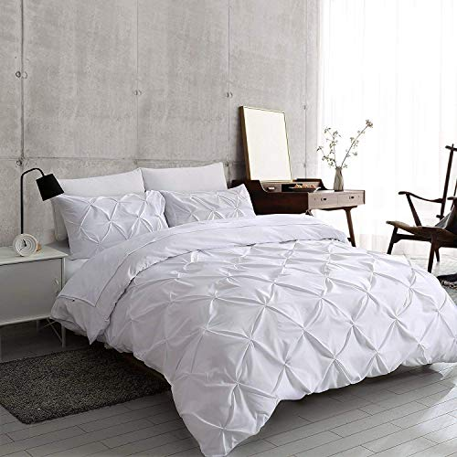 Kotton Culture Pinch Pleated 3 Piece Duvet Cover Set 100% Egyptian Cotton 1000 Thread Count with Zipper & Corner Ties Pintuck Decorative Comforter Cover (Queen/Full, White)
