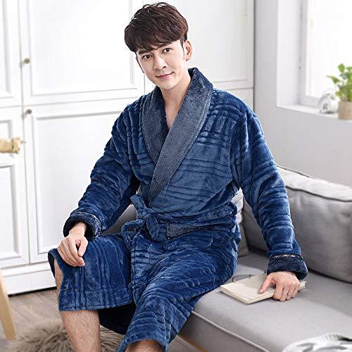 Nachthemd Für Männer,Einzigartige Winter Flanell Herren Pyjamas Dicke Langarm Nachthemd Nachtwäsche Weiche Bequeme Bademäntel Nachthemd Lose Schlafhemd,Navy Blue1,Xl