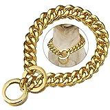 ZZOHAA - Collare per cani di taglia grande, in oro, resistente catena per cani cubani di grandi dimensioni, in acciaio INOX e metallo, collare per addestramento